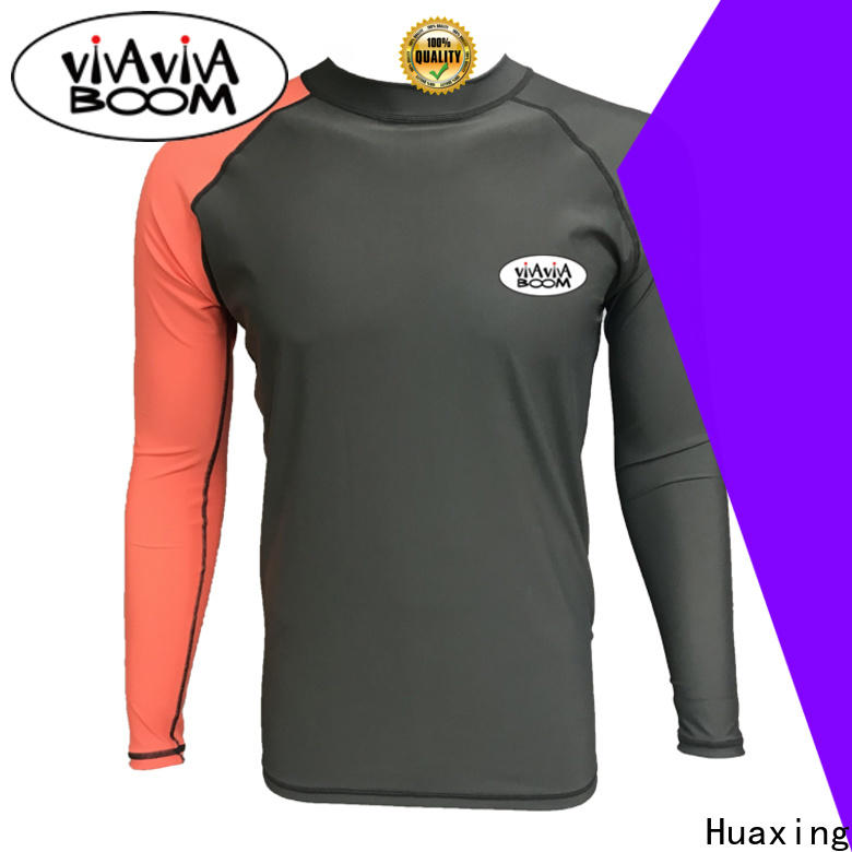 Huaxing colorful men rash guard for stand up paddle surfing