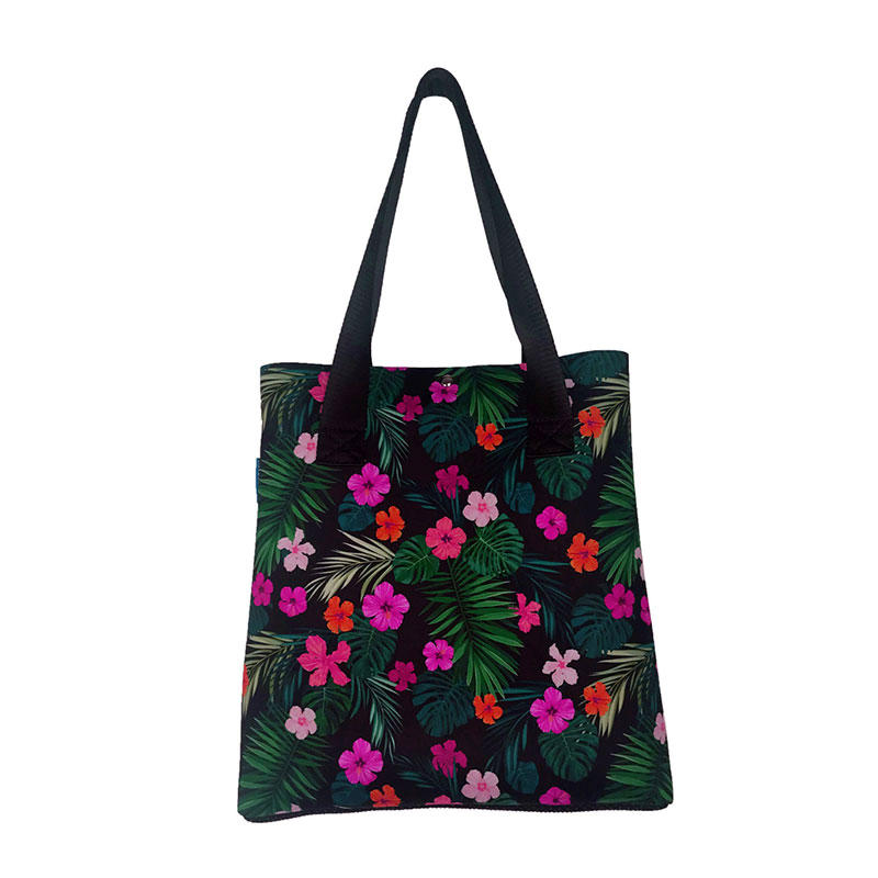 2019 newly designed neoprene beach handbag flowers print women shopping tote bag