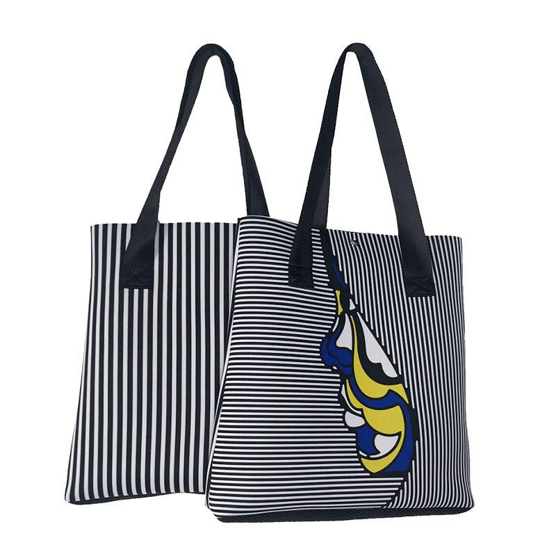 Wholesale zebra stripes neoprene beach tote bag 2019 newly designed women handbag