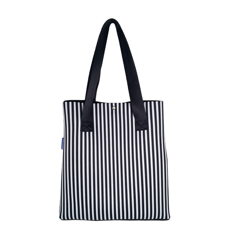 Wholesale zebra stripes neoprene beach tote bag 2019 newly designed women handbag