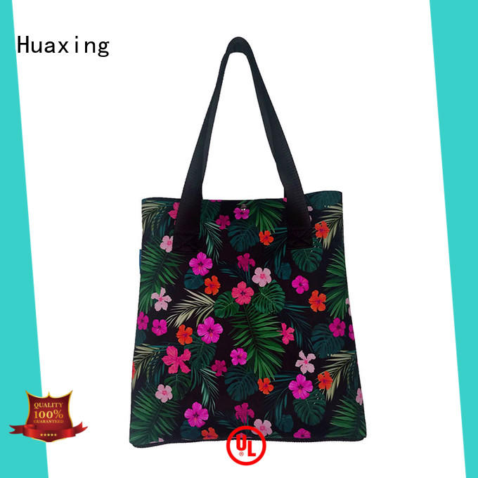 2019 newly designed neoprene beach handbag flowers print women shopping tote bag