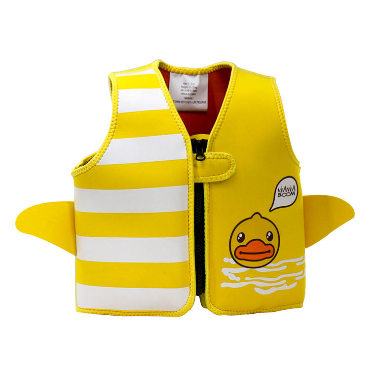 2018 New Design Silkscreen Print Kids Neoprene Swim Vest with Frontzip
