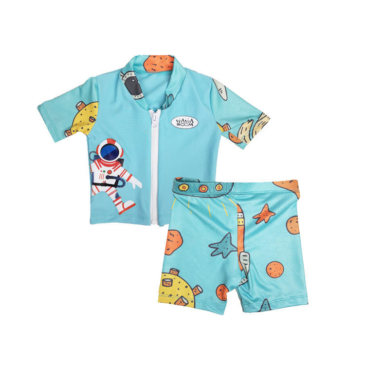 Factory supply cartoon design kids short sleeve wholesale rash guards
