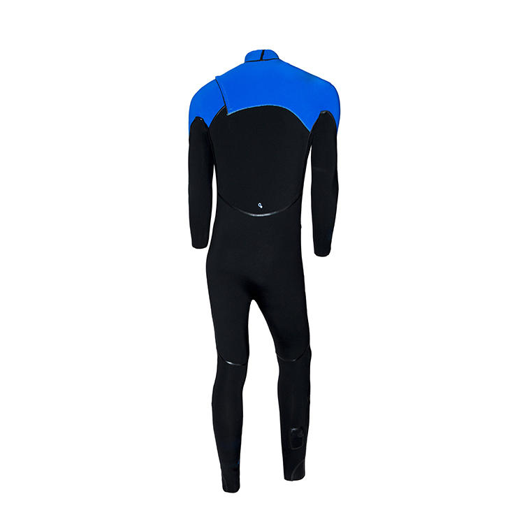 High Quality Blue Men's Full Body Triathlon Wetsuit with Chest Zipper