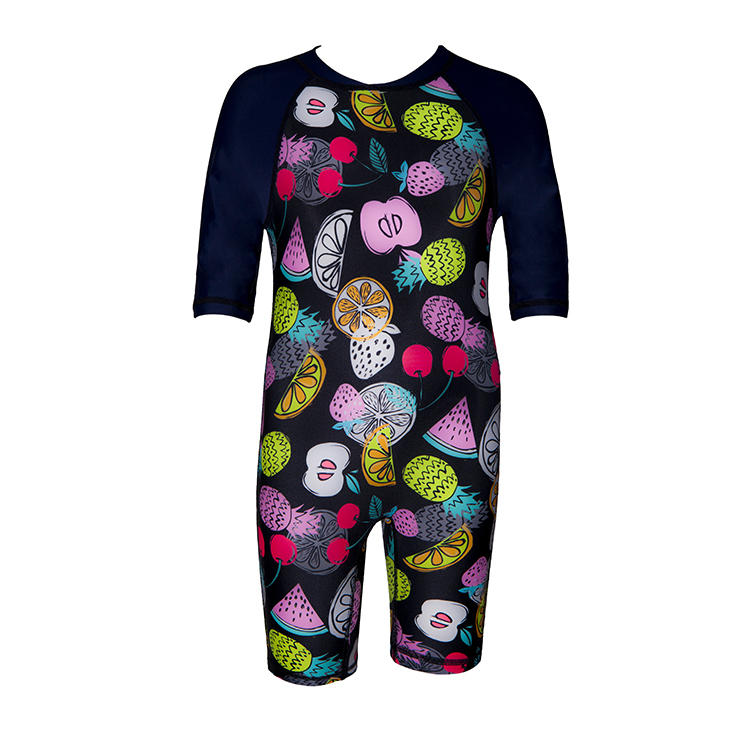 Water sports cartoon design eco friendly toddler rash vest with Back Zipper