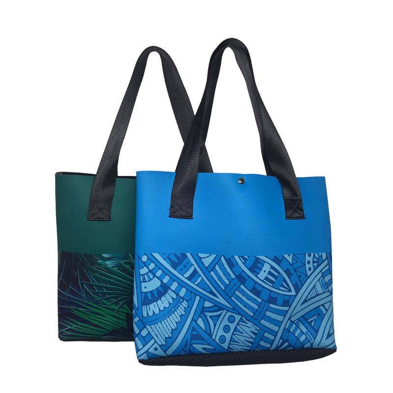 Newly designed fashion style neoprene tote beach bag girls shopping handbag
