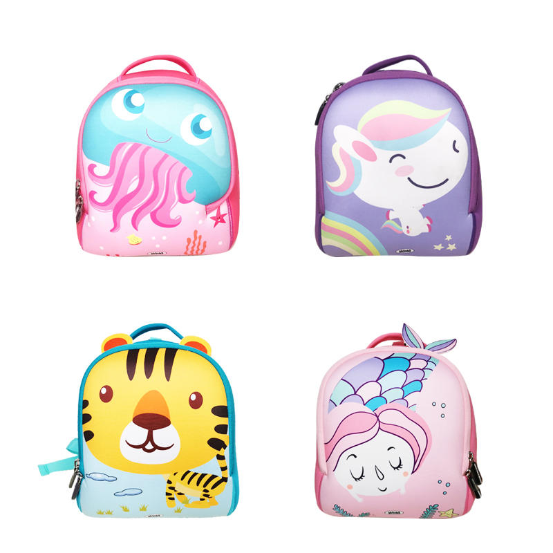 2020 Cartoon animals in The Kids backpack with neoprene