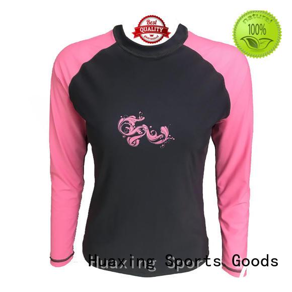 Huaxing fashion design rash guard for girls wholesale for kayaking