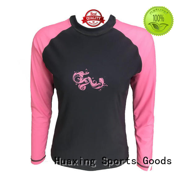 Huaxing fashion design rash guard for girls wholesale for kayaking